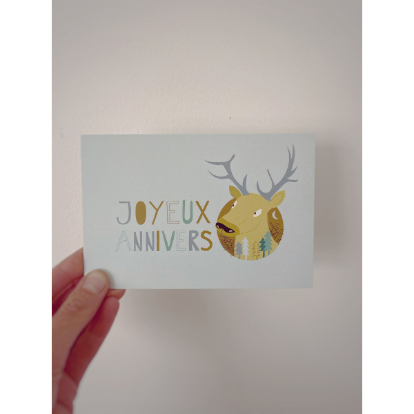Pierrette en Papier - Invitation anniversaire 2 - cerf + badge